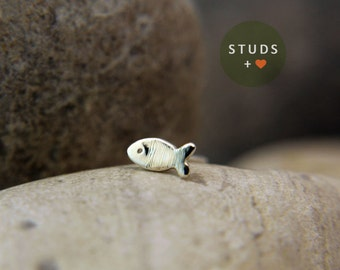 NOSE STUD French fish sterling silver/ tragus fish/ cartilage earring/ tragus /gold tragus earring/ cartilage gold/ nose studs/ tragus stud