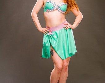 Latex SAMPLE SALE! Green flower bra and skirt set with pink and purple rouched flower detail UK size 10-12