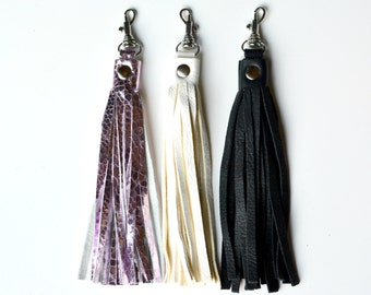FILLY Leather Tassel, Purse Tassel, Bag Charm, Charm, Leather Tassel, Purse charm, gift for her,  stocking stuffer, metallic pink tassel