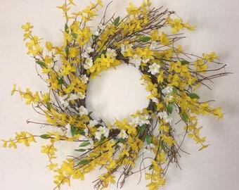 Forsythia Wreath. Cherry Blossom Wreath. Spring Wreath. Summer Wreath. Housewarming Wreath.