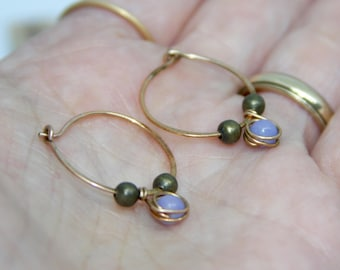Small Hoop Earrings, Bronze Hoop Earrings, Hoop Earrings, Purple Beaded Hoops, Small Hoop Earrings, Handmade