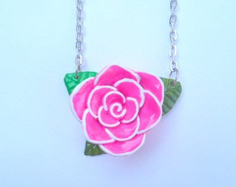 rose necklace, chain necklace, rose jewwelry, pin up necklace, rose jewelry, unique necklace, pink rose