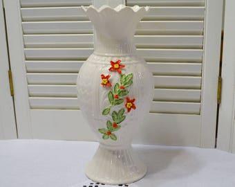 Vintage Belleek Vase Red Green Floral Chipped Tall Flower Vase Ireland PanchosPorch
