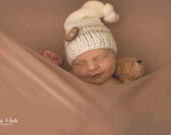 Baby knit hat, Elf hat , knitting , Photo prop , Christening ,Stripped hat , knitting hat ,Newborn sizes