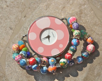Statement Watch,  Pink, Polka Dot, Jumbo, Flower, Rhinestone, Multicolor, Beaded, Clay, Bracelet, Narmi, Jennifer Jones, Coupon Code - Happy