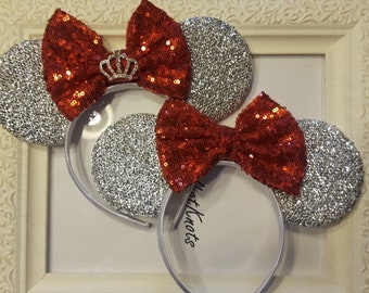 Silver sparkly Minnie Mouse Ears with Red Sequin Sparkly Bow with or without tiara