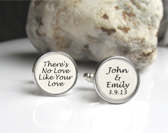 Personalized Cufflinks, Groom Cufflinks, Wedding Cufflinks Customized With Names And Date