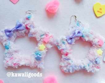 Fuzzy star fairy kei yume kawaii earrings