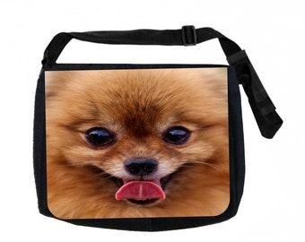 Pomeranian Puppy Face Black School Shoulder Messenger Bag