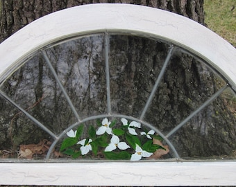 Salvaged window vintage  leaded glass, half moon , hand painted floral design