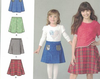 Simplicity 1290 Girls Skirt Pattern in 4 Variations SIze 3,4,5,6 UNCUT