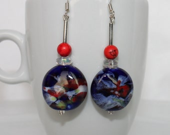Blue and Red Sunset Earrings