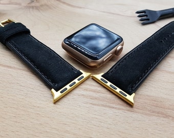 Black Watch Band, Apple Watch Band, Watch Band 42mm, Watch Band 38mm, Leather Watch Band, 38mm, 42mm, Handmade Design, antique leather,