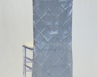Gray Pintuck Tafetta Chiavari Chair Cover
