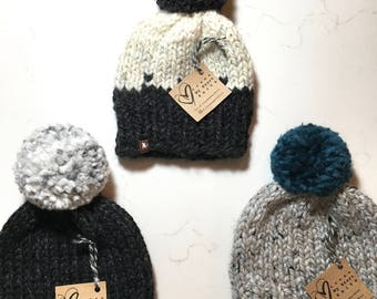 x *READY TO SHIP* Baby (0-6 months) Chunky Knit Pom Toque Hat x