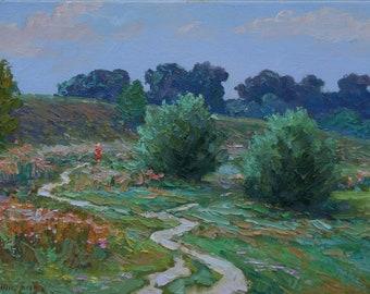 Original Meadow Road Signed Canvas LANDSCAPE Europe Oil Impressionism Art