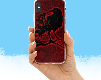 Raven On Red Phone Case For iPhone 6 iPhone 7 plus iPhone 8 plus iPhone X Horse Phone Case Horses Phone Cases
