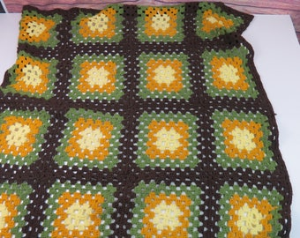 "Granny Square Handmade Crochet Vintage Yarn Afghan Throw Blanket  36"" x 60"""