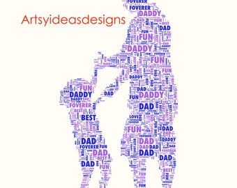 Fathers Day Personalised Word Art Gift Keepsake Dad Print or Print and Frame DIGITAL IMAGE .jpg high res for personal printing