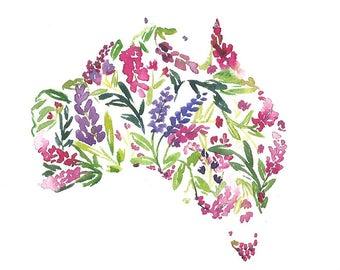 Gift for friend, Original Watercolor Australia Map Painting, Watercolor Flowers, Australia Gifts, Honeymoon Gifts, Australia Day, Decor