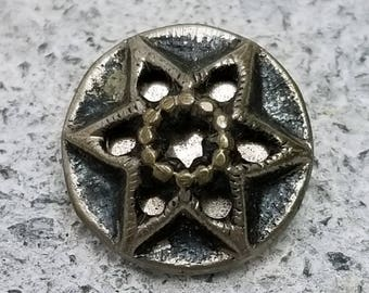 Antique White Metal Twinkle Button ~ 6 Petal Star Flower Design ~ 9/16 inch 14mm ~ Floral Design Mirror Back Sewing Button