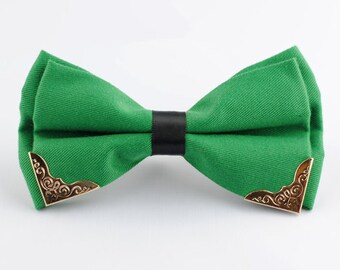 Green Bowtie.Green Wedding Bowtie.Groomsmen Bowtie Green. Green Bow Tie  With Phnom Penh for Wedding.Adjustable Predtied Bowtie.