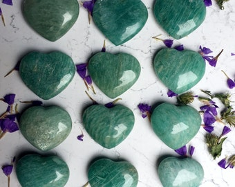 ONE amazonite crystal heart