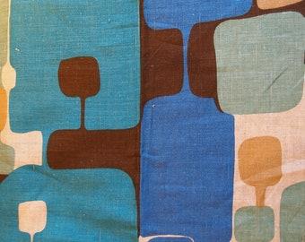 Vintage Scandinavian Filkauf Linen Fabric-abstract print