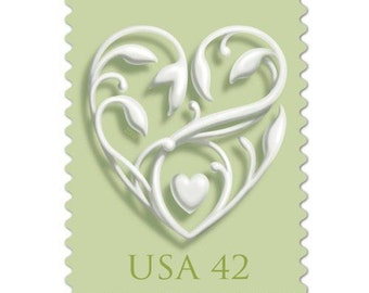 10 Unused Mint Heart Postage Stamps //  Mint Green Love Vintage Postage Stamps