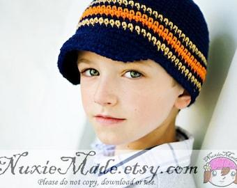 Newsboy Hat 2T-4T, Crochet Hat, Stripes Hat, Navy Blue Hat, Crochet Newsboy Hat, Winter Hat, Fall Hat, Boy Beanie, Stripes Hat, Beanie
