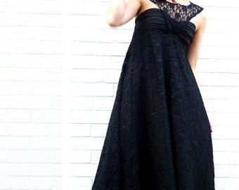 Lace Wedding Dress,Black Wedding Dress,Gothic Wedding Dress,Maternity Wedding Dress,Audrey Hepburn Dress,Backless Wedding Dress,Custom made
