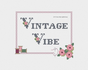 Vintage Vibe Cross Stitch Pattern Instant PDF Download