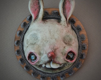 Gray bunny wall hanging