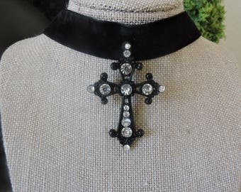 "1"" Black velvet choker with black and crystal cross pendant"