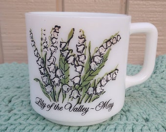 May Flower of the Month Milkglass Mug - Lily of the Valley