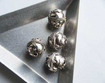 One Pc, 12MM, Sterling Silver Round Bali Bead