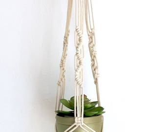 warm pink & natural cord plant hanger