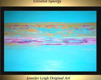 Original Large Abstract Painting Modern Acrylic Painting Oil Painting Canvas Art  SYNERGY Turquoise Gold 36x24 Textured Wall Art  J.LEIGH