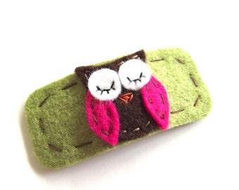 Owl Hair Clip-  Wool Felt - Your Choice of Colors