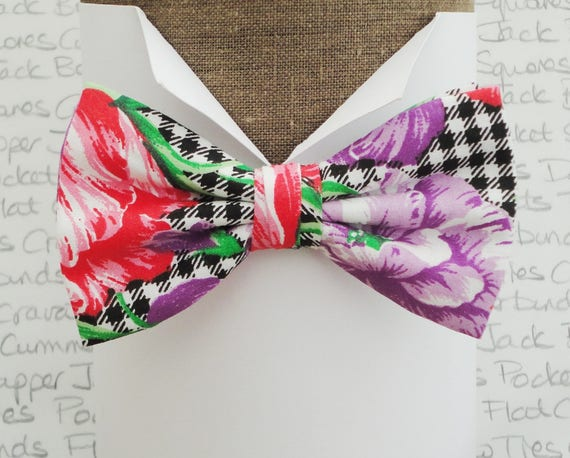 Bow ties, bow ties for men, red and purple flowers on a gingham background, floral bow tie