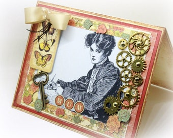 Mother's Day Card - Mum Card - Steampunk Card - Literary Card - Writer's Card - Botanical Card - Birthday Card - Thank You Card