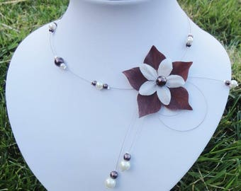Bridal necklace bridal necklace ivory chocolate silk flower & pearls