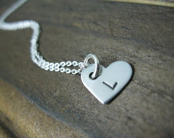 Personalized Hand Stamped Sterling Silver Single Heart Tag