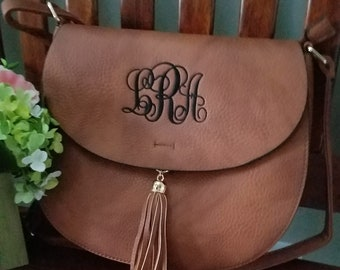 Monogrammed Tassel Crossbody Bag/ Great Gift!