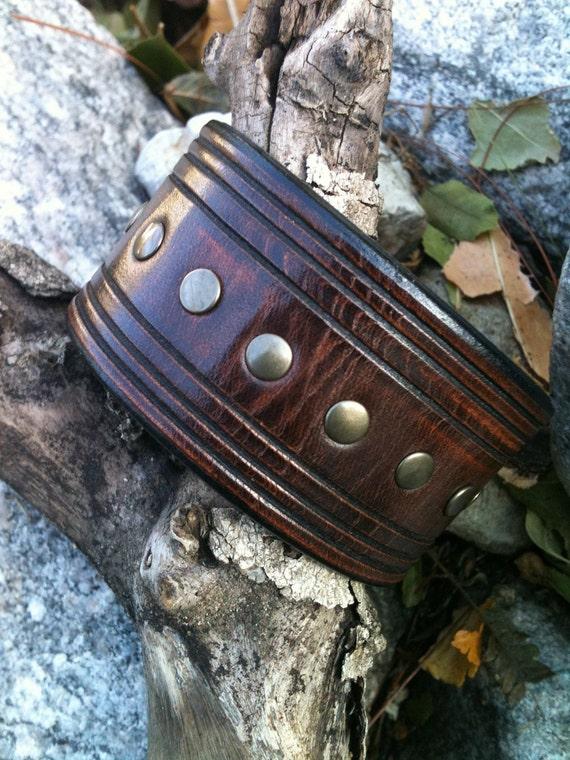 Antique Brown Brass Trax Leather Cuff