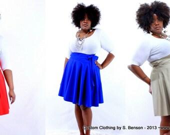 "Plus Size Skirt / Women plus size high waist / plus size Pink, Wine Red, Khaki, Royal Blue, Navy, Green, White ( 14 - 24 ) 25"" L"