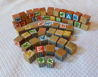 Lot of 50 Vintage Wood Alphabet Blocks Interlocking Blocks 1940's Hi-Lo Safety Blocks by Halsam Toy Blocks ABC Blocks