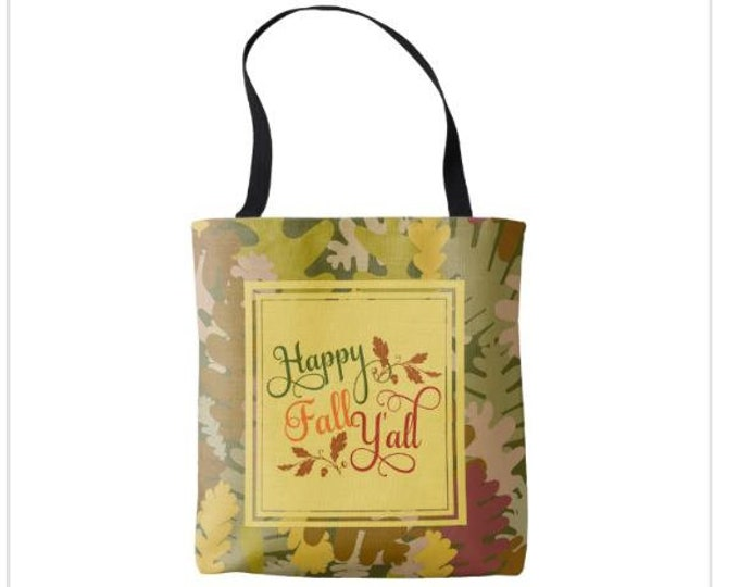 "Tote Bag Camo ""Happy Fall Y'all"""