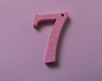 "wooden pendant number ""7"" 22 mm tall various colors to choose"