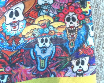 Day of the Dead silk scarf or tie from Mexico